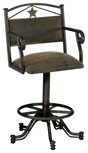 Tempo Texan 30 in. Tilt Swivel Bar Stool with Arms traditional-bar-stools-and-counter-stools