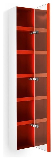 62.6 in. Bathroom Cabinet in White and Red contemporary-medicine-cabinets