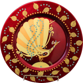 """Decorative show piece - Peacock 2 Painting""  (Original) by Rohini Nirgude contemporary-decorative-plates"