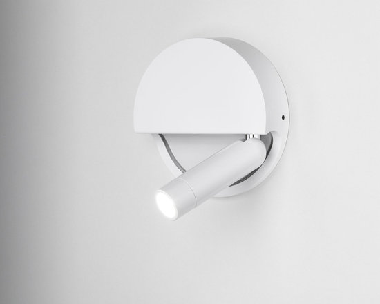 Marset - Ledtube Round Right Wall Sconce - Ledtube Round Right Wall Sconce comes in Aluminum, White, or Black. The LED light comes on automatically when opened out and goes off when closed. Available in a right and left version. The 180 degree rotation makes it ideal for installing on any wall. One 3 watt, 120 volt 3000K 95 lumens 80CRI LED module is included. ADA compliant. UL listed. 5.2 inch width x 5.2 inch height x 1.3 inch depth.