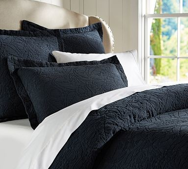 Valerie Floral Metalasse Sham, King, Midnight Blue traditional-shams