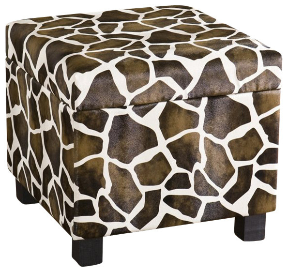 Southern Enterprises Giraffe Faux Leather Storage Ottoman contemporary-footstools-and-ottomans