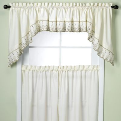 Abby kitchen window swag pair in sage contemporary - Swag valances for bathroom windows ...