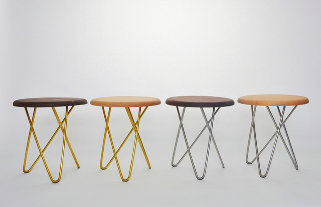 Delta Stool - black walnut or hard maple top with stainless steel or brass legs modern-chairs
