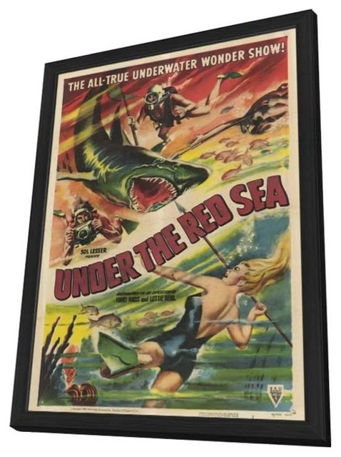 Under the Red Sea 11 x 17 Movie Poster - Style A - in Deluxe Wood Frame prints-and-posters