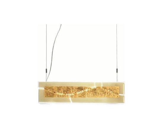 "Laguna S75 Pendant Lamp By Leucos Lighting - Leucos Laguna S75 Pendant Lamp Leucos comes in two sizes, with rectangular profile, of three layer glass slab, consisting of ""Canal"" decoration of amber or white with gold leaf and glass shavings."