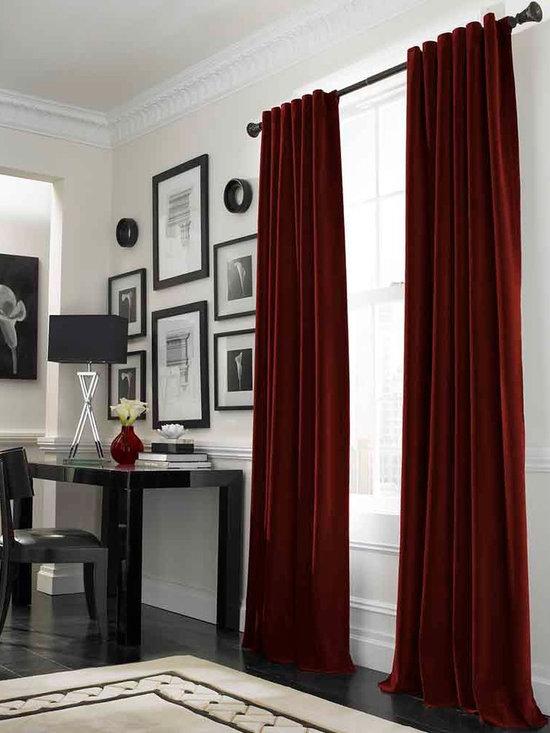 Messina Opulent Velvet Lined Wide Width Drape, Crimson -