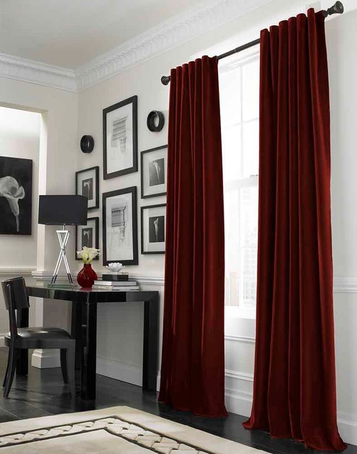 Messina Opulent Velvet Lined Wide Width Drape, Crimson traditional-curtains