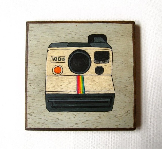 Vintage Electronics Polaroid Camera Original painting on Art blocks - Artwork - other metro - by ...