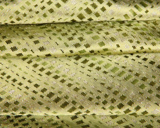 Montage Drapery Fabric in Wasabi - Montage 100% Indian Silk Drapery Fabric in Wasabi Green. Discounted designer silk perfect for drapery, curtains, bedding and pillows.