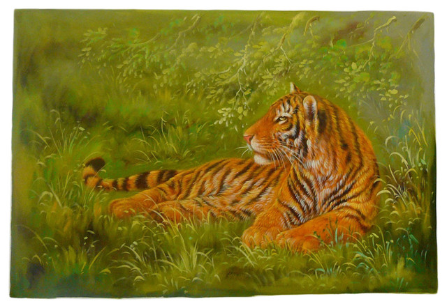 Oil paint canvas art portrait tiger wall decor asian wall decor
