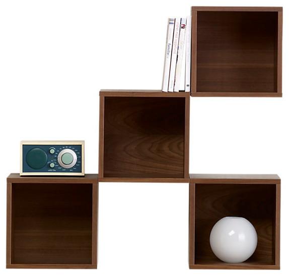 Wall Cabinet, Walnut Veneer - Transitional - Wall Shelves ...
