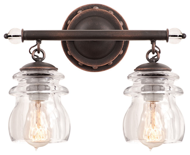 Kalco lighting 6312ac brierfield antique copper 2 light for Old bathroom light fixtures