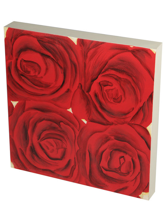 Brandi Renee Designs - Handpainted Four Red Roses Wall Art, Wood Tile - This cute single large red rose with nine small red roses hand painted on a square wall piece is perfect alone or with its companions or sculptural red roses in a wall grouping.