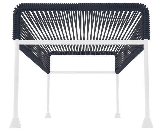 Adam Ottoman, White Frame - Sleek woven vinyl makes this coffee table stand really pop. It's a great option for indoor and outdoor use since the vinyl is UV protected and the metal base is galvanized. The only challenge would be deciding on your favorite color top to pair with the crisp white base.