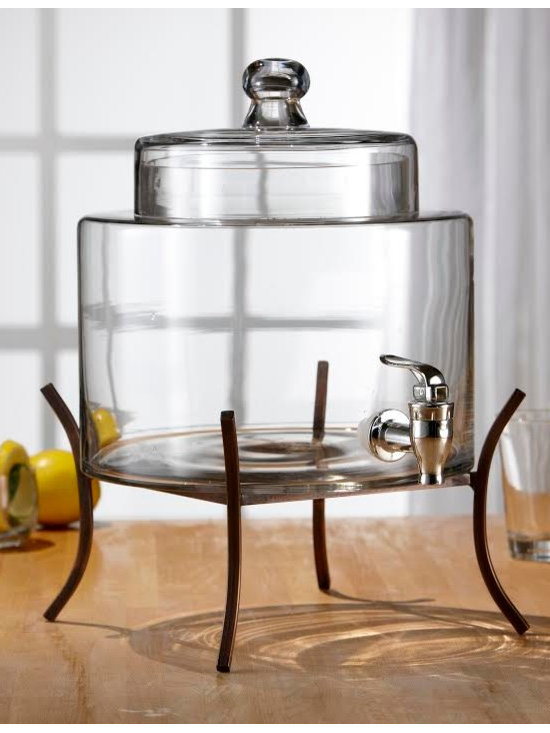Fifth Avenue Crystal Glass Drink Dispenser with Metal Stand -