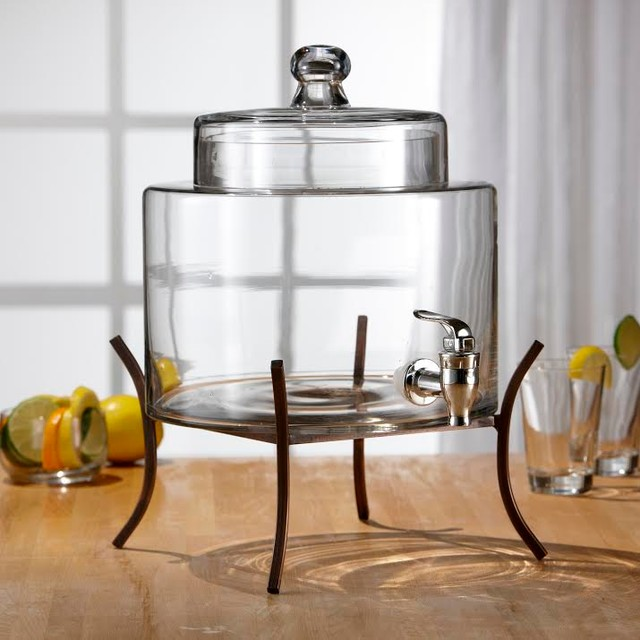 fifth avenue crystal glass drink dispenser with metal stand modern beverage dispensers new. Black Bedroom Furniture Sets. Home Design Ideas
