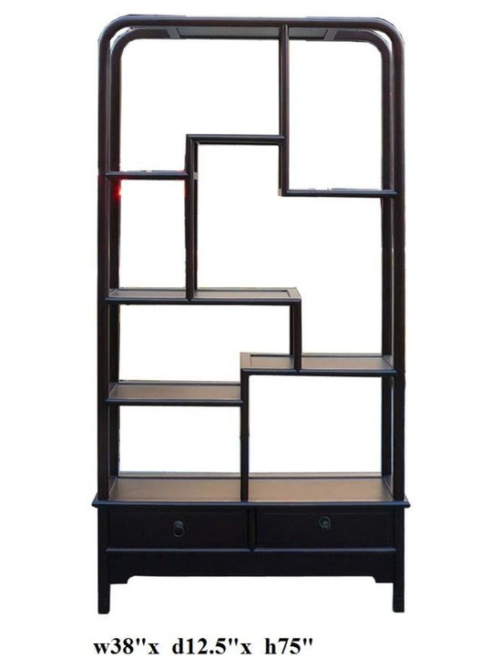 "Simple Oriental Uneven Open Curio Display Cabinet - This is a traditional Chinese style display , called "" eight treasure cabinet "" in Chinese term. Its variation in height and size on each shelf is good for displaying a variety of items. The color is mahogany red brown."