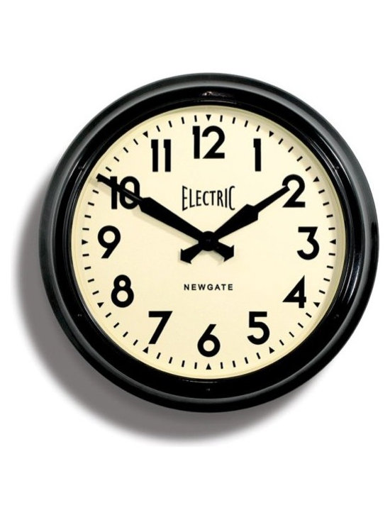 newgate - Giant 'Electric' Tin Wall Clock - Barn Light Electric - This whopping 60cm diameter clock is wonderful re-creation of the iconic designs of the 1940s and 50s. This Giant clock is a perfect statement timepiece and is also a great clock for offices and schools.