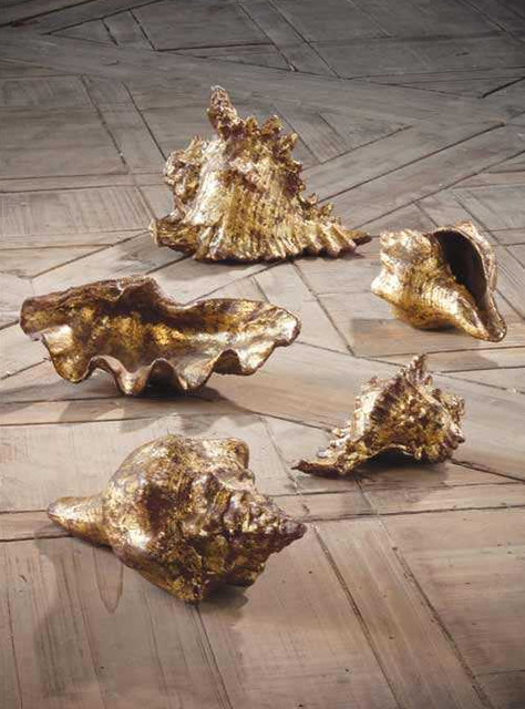 Gold Leafed Shells tropical accessories and decor