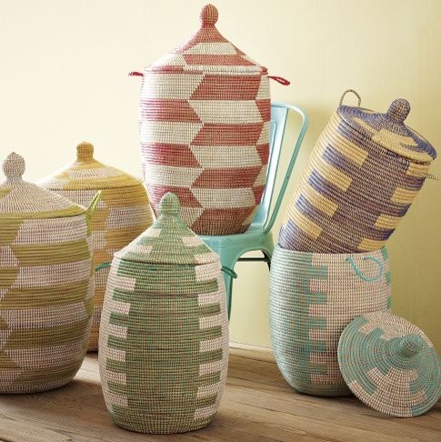 Graphic Lidded Baskets eclectic-baskets
