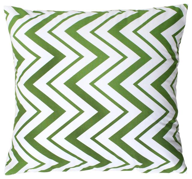 """""""Chevron"""" Green and White Throw Pillow modern-decorative-pillows"""