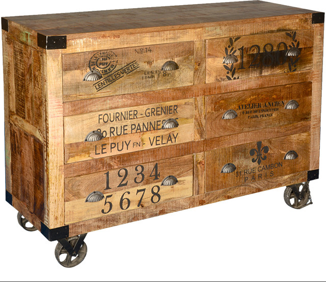 Industrial Hardwood 6 Storage Drawers Rolling Double Dresser with Casters - Industrial - Dressers