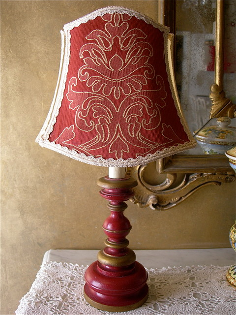 antique red and gold turned wood table lamp with damask lamp shade table lamps other metro. Black Bedroom Furniture Sets. Home Design Ideas