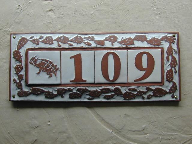 Tile framed address plaque mediterranean house numbers for Mediterranean house numbers