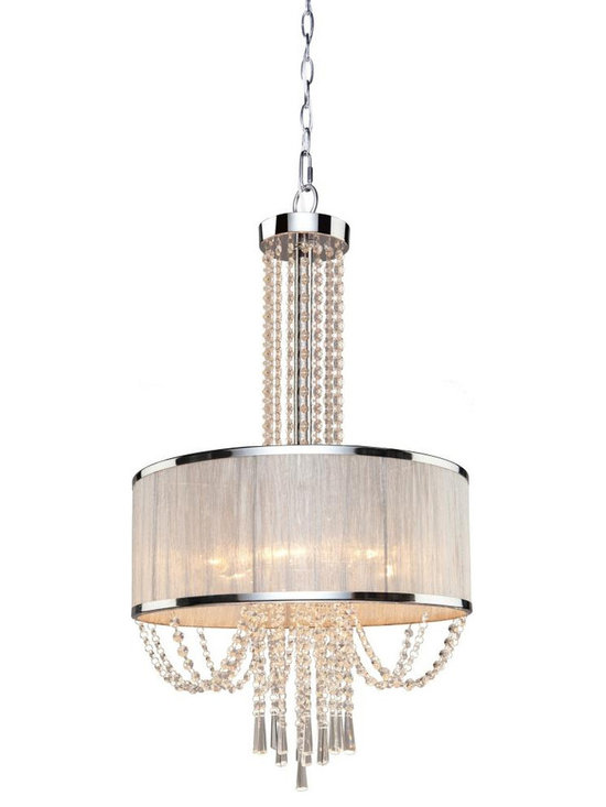 Artcraft - Valenzia Chandelier - The Valenzia Chandelier features an Off White silk shade and a Chrome finish. Six 40 watt 120 volt B10 type candelabra base bulbs are required, but not included. 19.5 inch diameter x 32.5 inch height.