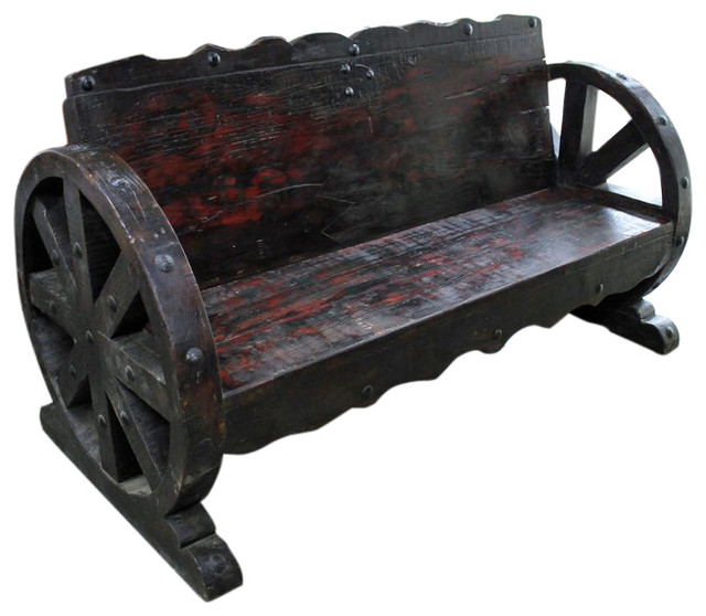 Mesquite Wood Wagon Wheel Bench Rustic Indoor Benches By Tres Amigos Furniture And Accessories
