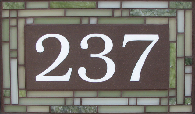 Green Cathedral Glass house-numbers