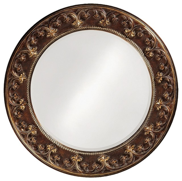 """Traditional Cassis Brown and Antique Gold Round 42"""" Wide Wall Mirror - Traditional - Mirrors ..."""
