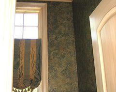 hand painted anaglypta wallpaper, glazed woodwork, copper ceiling mediterranean powder room