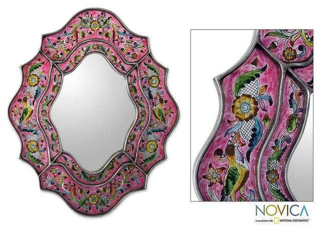 Glass 'Wild Orchids' Mirror eclectic-wall-mirrors