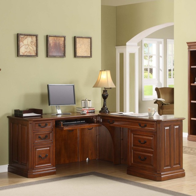 Whalen Augusta L Shaped Desk With Optional Hutch