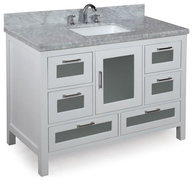 Manhattan 48-in Bath Vanity (Carrara/White) contemporary-bathroom-vanities-and-sink-consoles