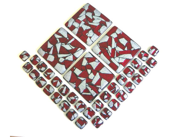 Uneek Glass Fusions - Glass accent tiles in red and silver dichroic glass. - Variety of Red and Silver Mosaic Glass Accent Tiles for a kitchen backsplash by Uneek Glass Fusions. Price is for one 1in. x 1in. tile. Variety of sizes available.  http://uneekglassfusions.com