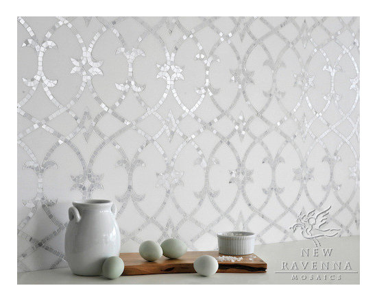 Stone Mosaic - Avila stone mosaic adds graceful natural curves to a kitchen backsplash.