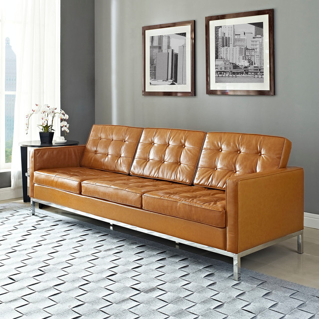florence style tan leather loft sofa midcentury sofas. Black Bedroom Furniture Sets. Home Design Ideas