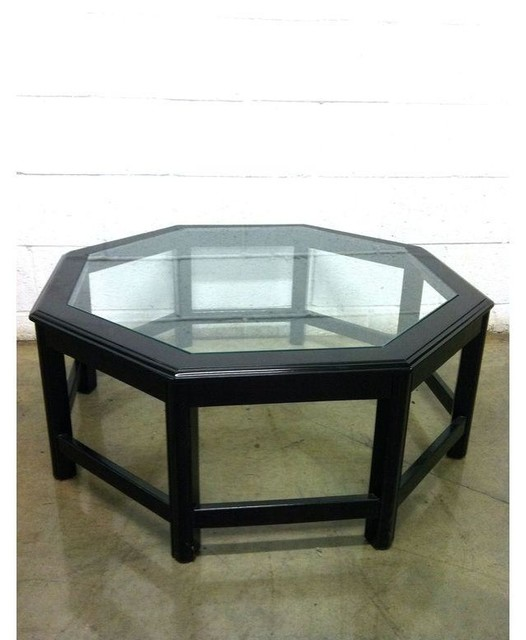Octagonal Black Lacquer And Glass Cocktail Table