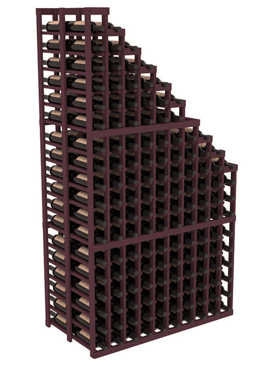 Double Deep Wine Cellar Waterfall Display Kit in Pine with Burgundy Stain - The same beautiful cascading waterfall but in a double deep capacity. Displays 18 choice vintages in a tiered fashion. Designed within our modular specifications and to Wine Racks America's superior product standards, you'll be satisfied. We guarantee it.