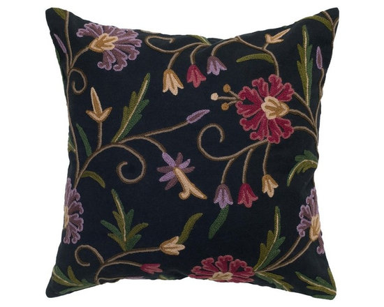 Rizzy Home - Rizzy Home Black Crewel Embroidery Decorative Throw Pillow - T05032 - Shop for Pillowcases and Shams from Hayneedle.com! The Rizzy Home Black Crewel Embroidery Decorative Throw Pillow is filled with deep colors and intricate embroidery work. This detailed pillow is made with a cotton flax cover in black. Its flower design is made of crewel embroidery in rich purple red green and more. This stunning accent pillow has a hidden zipper and removable polyester insert. Dry clean only.About Rizzy HomeRizwan Ansari and his brother Shamsu come from a family of rug artisans in India. Their design color and production skills have been passed from generation to generation. Known for meticulously crafted handmade wool rugs and quality textiles the Ansari family has built a flourishing home-fashion business from state-of-the-art facilities in India. In 2007 they established a rug-and-textiles distribution center in Calhoun Georgia. With more than 100 000 square feet of warehouse space the U.S. facility allows the company to further build on its reputation for excellence artistry and innovation. Their products include a wide selection of handmade and machine-made rugs as well as designer bed linens duvet sets quilts decorative pillows table linens and more. The family business prides itself on outstanding customer service a variety of price points and an array of designs and weaving techniques.