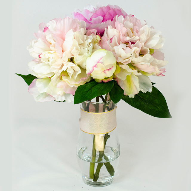 Baby Pink Fuchsia Silk Peony Faux Floral Arrangement For