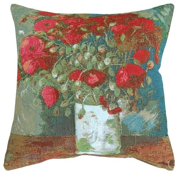 Pillow Decor - Van Gogh Poppies 19 x 19 Throw Pillow contemporary-decorative-pillows
