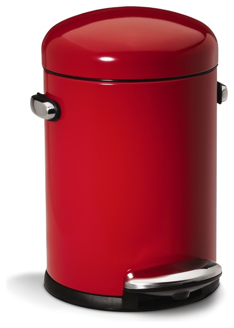 4.5 Litre Retro Step Can, Red Steel - Modern - Trash Cans ...
