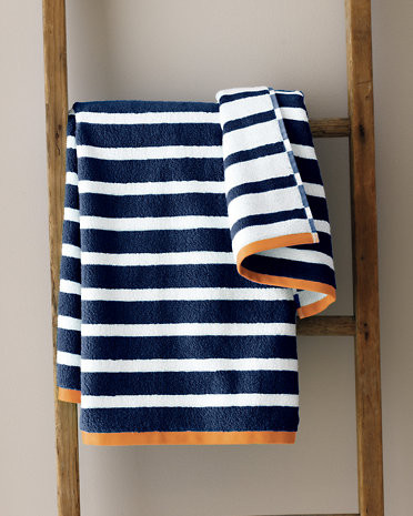 Garnet Hill Regatta Stripe Bath Sheet, Sailor Blur Stripe/Tangerine modern-towels