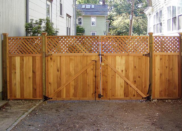 Custom Wood Locking Double Gate - Princeton, NJ - Eclectic ...