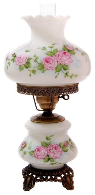 pink red roses medium hurricane night light table lamp. Black Bedroom Furniture Sets. Home Design Ideas