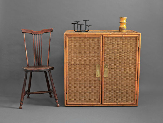 Vintage Wicker and Wood Cabinet by Hindsvik - Contemporary - by Etsy